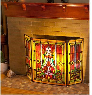 """River of Goods Multi color Stained Glass 28"""" inch Panel Screen Fire place Screen"""