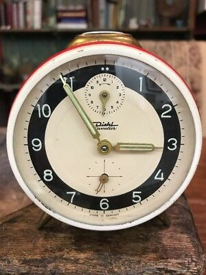 Diehl Cavalier Three Dial Alarm Clock Made in Germany Red/White Case Works