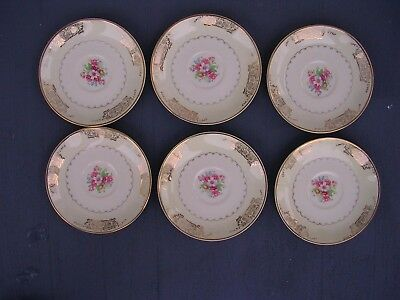 "6 Vintage Paden City Pottery (D-42) 22K Gold Saucer's 6"" MADE IN U.S.A.""RARE"""
