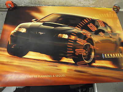 """2001 Ford Mustang GT BULLITT Limitied Edition Promo Poster 39"""" x 27"""" 'Sequel'"""