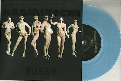 """Rammstein - Pussy  UK 1sided 7"""" blau etched Vinyl  No 611  numm Edition of 3000"""