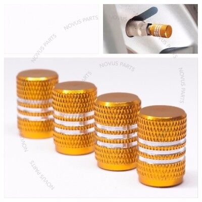 Gold Anti-slip Set of 4 Tire Valve Cap w/ Rubber Ring Dust Vehicle Fits All Rim