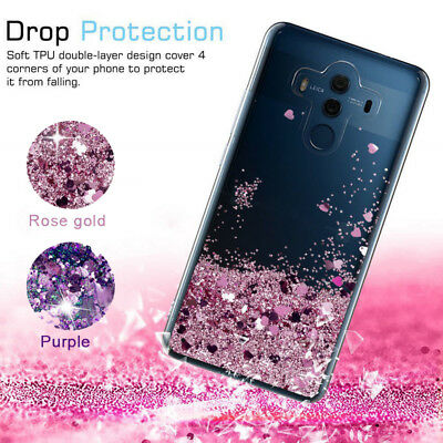 Dynamic Bling Glitter Quicksand Clear Soft Case Cover For Huawei P20 P10 Mate 10