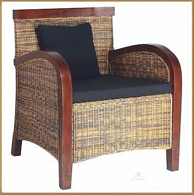 modern rattan armchair wooden living room chair conservatory seat