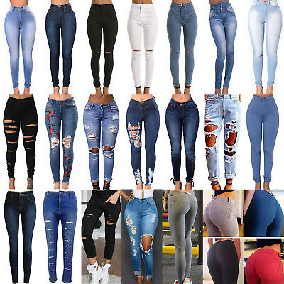 Womens Skinny Ripped Pants High Waist Boyfriend Jeans Slim Fit Pencil Trousers