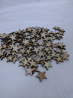 "Crafting Supplies  300 pcs. Laser cut wooden stars 1"" x 1"" wood stars"