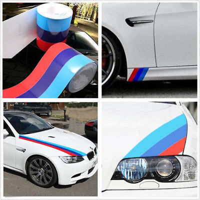 "79""/2 M-Colored Stripe Car Stickers For BMW Exterior Cosmetic Hood Roof Bumpers"