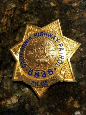 Obsolete collector badge, Police, California State Police Highway Patrol #5838