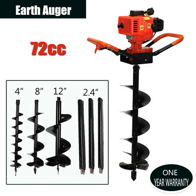 """72cc Gas Powered 4HP Power Engine Post Hole Digger + 4""""/ 8""""/10"""" Earth Auger Bits"""