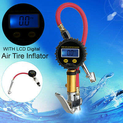 Digital LCD Car Air Tire Tyre Inflator High Accurate Pressure Gauge w/Dual Chuck