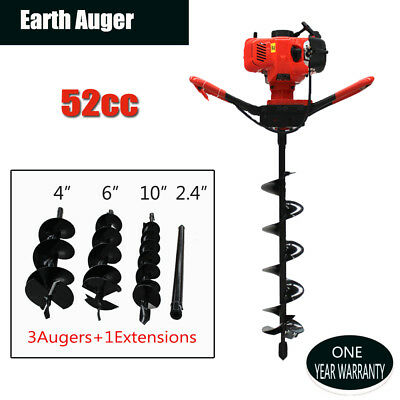 """52cc Gas Powered Earth Auger Power Engine Post Hole Digger + Drill Bit 4"""" 6"""" 10"""""""