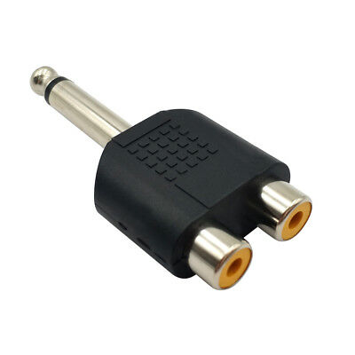 6.35mm 1/4 Inch Male Plug to 2 RCA Female Jack Audio Adapter Cable Converter