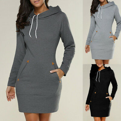 Women Hooded Bodycon Sweatshirt Ladies Hoodies Long Sleeve Casual Jumper Dress