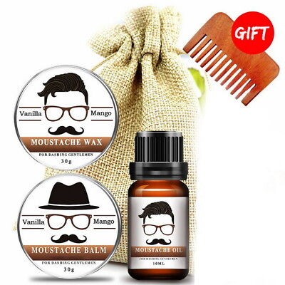 Organic Beard Grooming Kit - Moustache Wax, Beard Balm, Oil, Comb Gift Bag 30ml