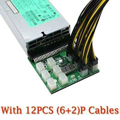 1200w/750w Breakout Board W/ Button for HP PSU GPU Mining Ethereum +12x 8P Cable