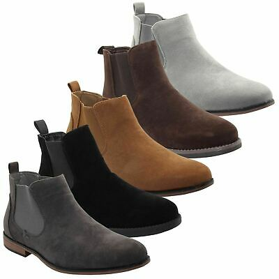 Mens Faux Suede Chelsea Ankle Boot Work Jeans Casual Block Heel High Top Shoes