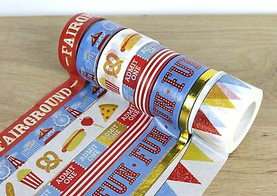 Dovecraft First Edition - Fairground - Washi Tape 8 Pack x 5m Roll