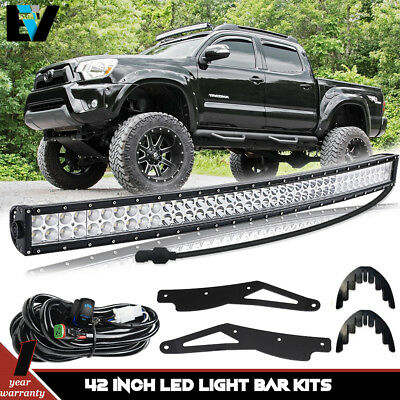 For 2005-15 Toyota Tacoma 4WD/2WD 40'' Curved LED Light Bar W/Upper Roof Bracket