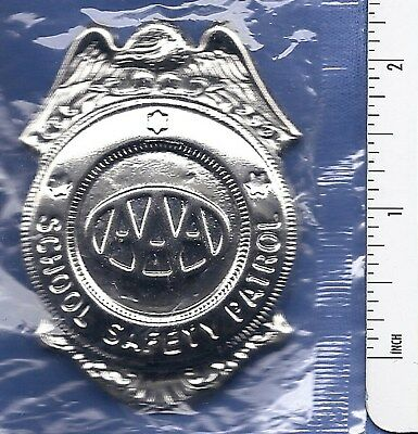 NEW VINTAGE AAA SCHOOL SAFETY PATROL Plain Silver METAL BADGE Guard Student Pin!