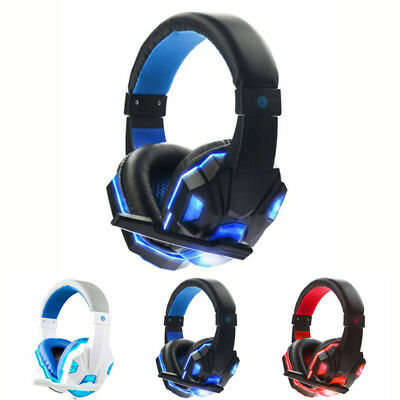 New 3.5mm Gaming Headset Mic LED Headphones Stereo Surround for PC Laptop