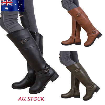 Womens Long Leather Buckle Boots Motorcycle Driving Riding Block Heel Shoes Size