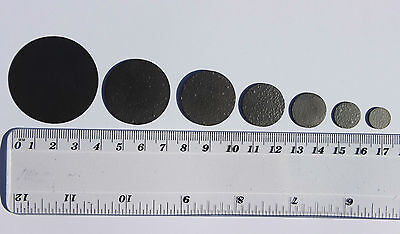 Pyrolytic graphite discs, 10mm, 12mm, 18mm, 21mm, 28mm & 47 mm dia x 1 mm thick