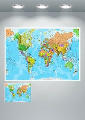 World Map Detailed Large Poster Art Print