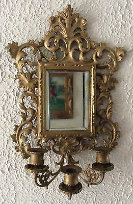 Vintage Ornate Brass Wall Sconce Mirror 3 Arm Candlestick Holder Home Decor