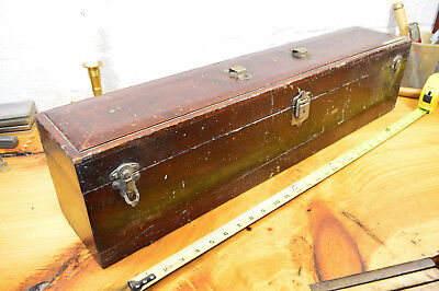 """Antique 30"""" Wooden Tool Box Solid Mahogany Frame & Panel Top, Missing Handles"""