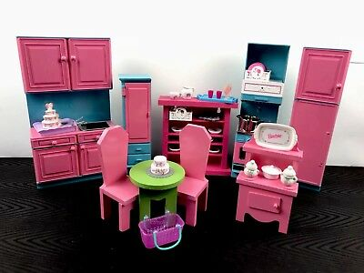 Play Pretend Barbie Kitchen Table Chairs Dishes Stove Fridge Furniture Lot Set