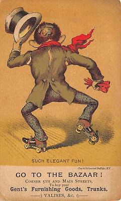 Man On Roller Skates Victorian Trade Card Go The The Bazaar Gent's Furnishings