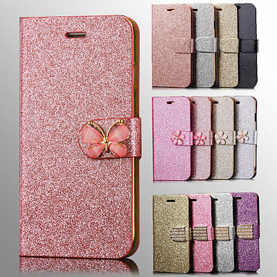 Bling Glitter Magnetic Flip Wallet Leather Case Cover For iPhone X 8 7 6 Plus 5s