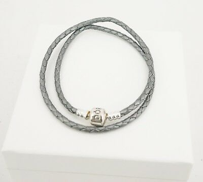 672be0357 Authentic PANDORA Silver Grey Double Wrap Braided Leather Bracelet  590705CSG-D