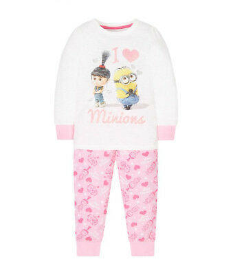 BNWT MOTHERCARE PINK I Love MINIONS GIRLS Pyjamas  AGE 4-5 Yrs