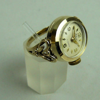 Vintage 9K Gold Elco 17 Jewel Manual Wind Watch Ring In G.w.o- Size P- Lond 1961
