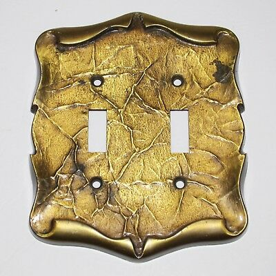 AMEROCK double Switch plate 9084-1 Vintage Antique brass tone metal nice 1970s