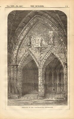 1884 Antique Architectural Print Art Westminster Hall Proposed Improvement