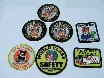 The Home Depot  Merit Award Cashier Service Safety  Embroidered Patchs Lot of 7