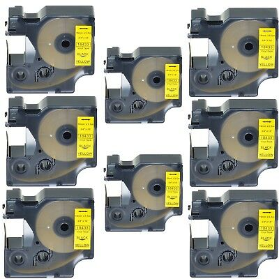 "8PK 18433 Black on Yellow Vinyl Label 3/4"" for DYMO RHINO 4200 5200 6000 Printer"