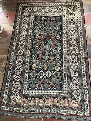 19th Century Antique Caucasian Oriental Scatter Rug 74 By 46  Nice Colors