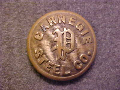 Very Rare Carnegie Steel Company Police 7/8 Brass Uniform Coat Button