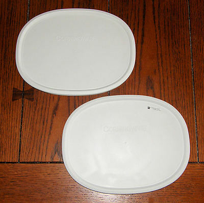 2 NEW Corning Ware French White Oval Plastic Storage Lid F-2-PC fit 1.5 & 2.5 Qt