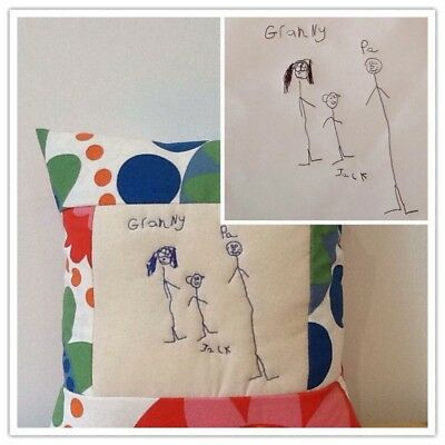 Personalised Cushion Memory Keepsake Gift Baby Childrens Drawing handmade sewn