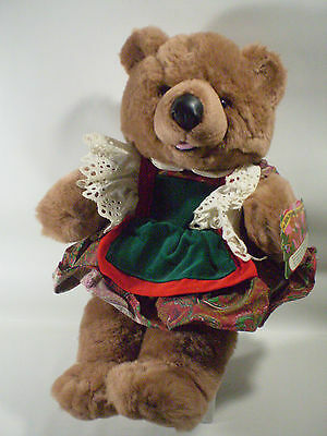 """Commonwealth Long Nose Grizzly Bear Teddy Bear Plush RARE 17"""" in Holiday Dress"""
