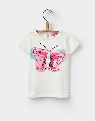 Joules Baby Girls' Lark T-Shirt with Fun 3D Applique in Cream Butterfly
