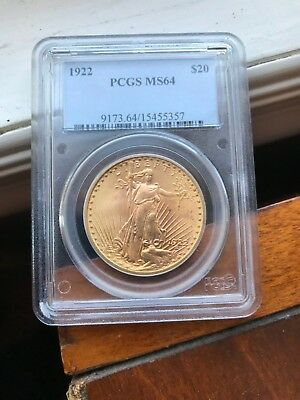 1922 Saint Gaudense $20 gold coin Ms 64 Certified By PCGS