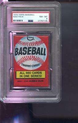 1976 Topps Baseball Card Unopened Wax Pack Team Checklist Ad NM-MT PSA 8 Graded