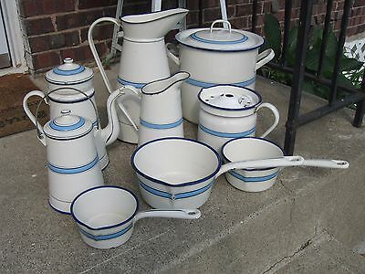 "Beautiful Antique ""JAPY"" Blue and White French Enamelware / Graniteware Set,"