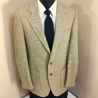 Vtg Harrocks TWEED Men HUNTING Sport Coat NORFOLK Jacket SHOOTING Wool Blazer 38