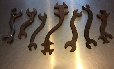 "7 Antique & Old Vintage ""S"" Curved Mechanic / Farm Implement Wrenches Tools"